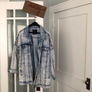 Oversized distressed acid denim jacket
